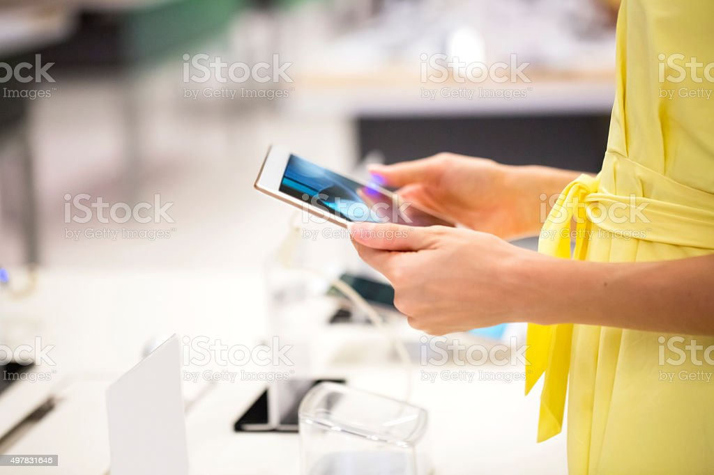 Tablet shopping stock photo