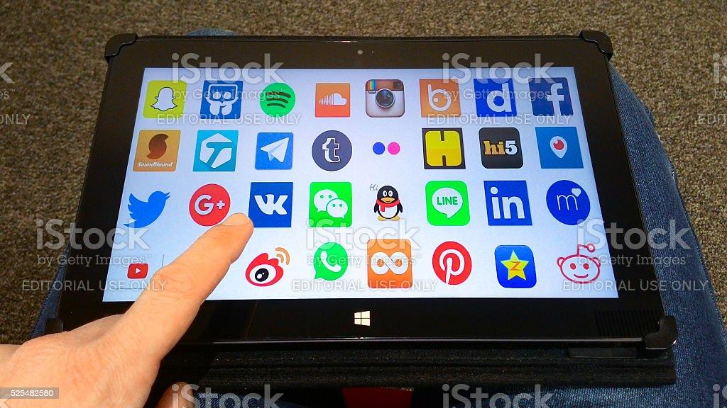 tablet social network app applications finger microsoft horizontal slideshare habbo stock photo