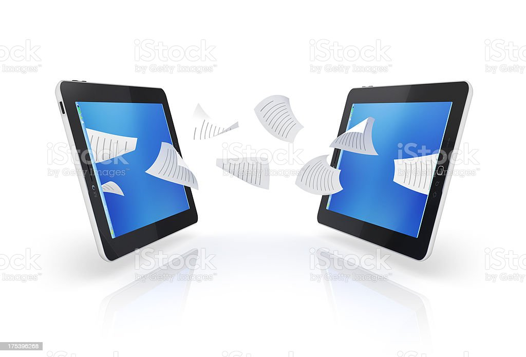 tablet transfer files and sharing royalty-free stock photo