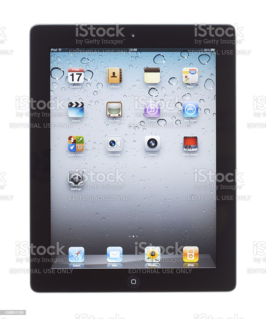 A tablet with a basic main screen stock photo
