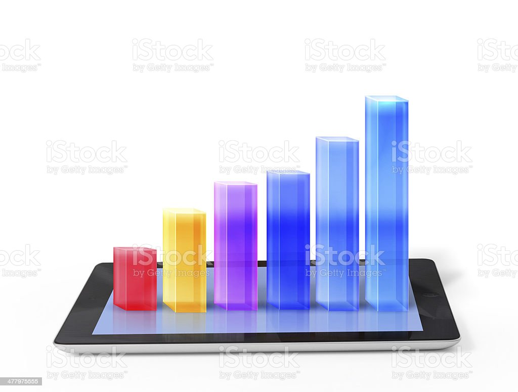 tablet with a graph royalty-free stock photo