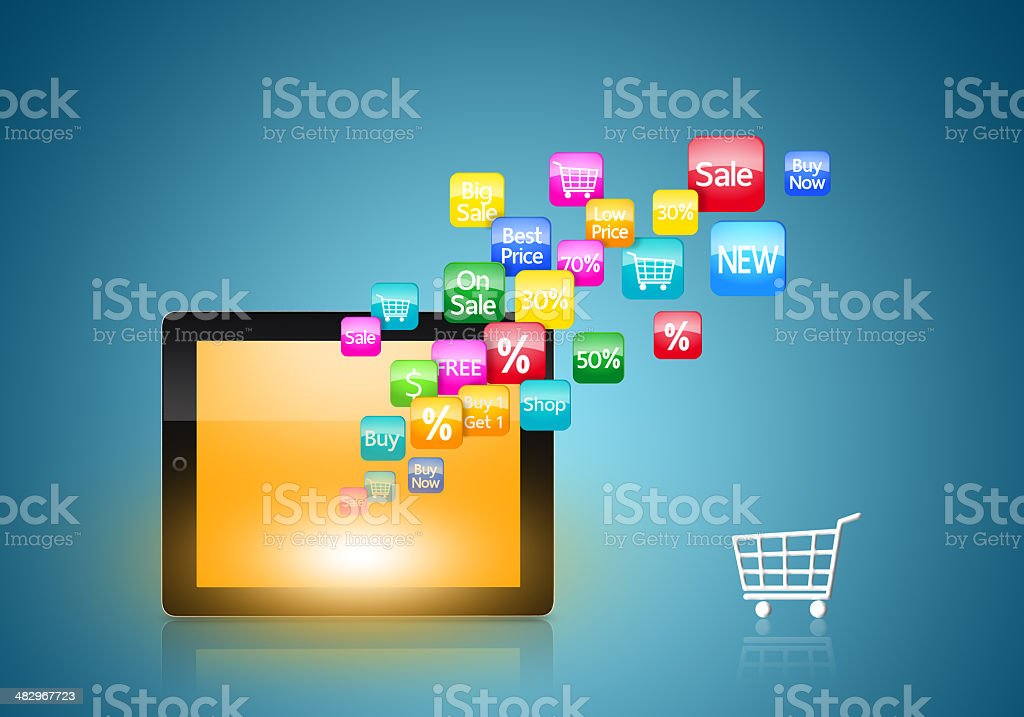 Tablet with application icons and shopping cart stock photo
