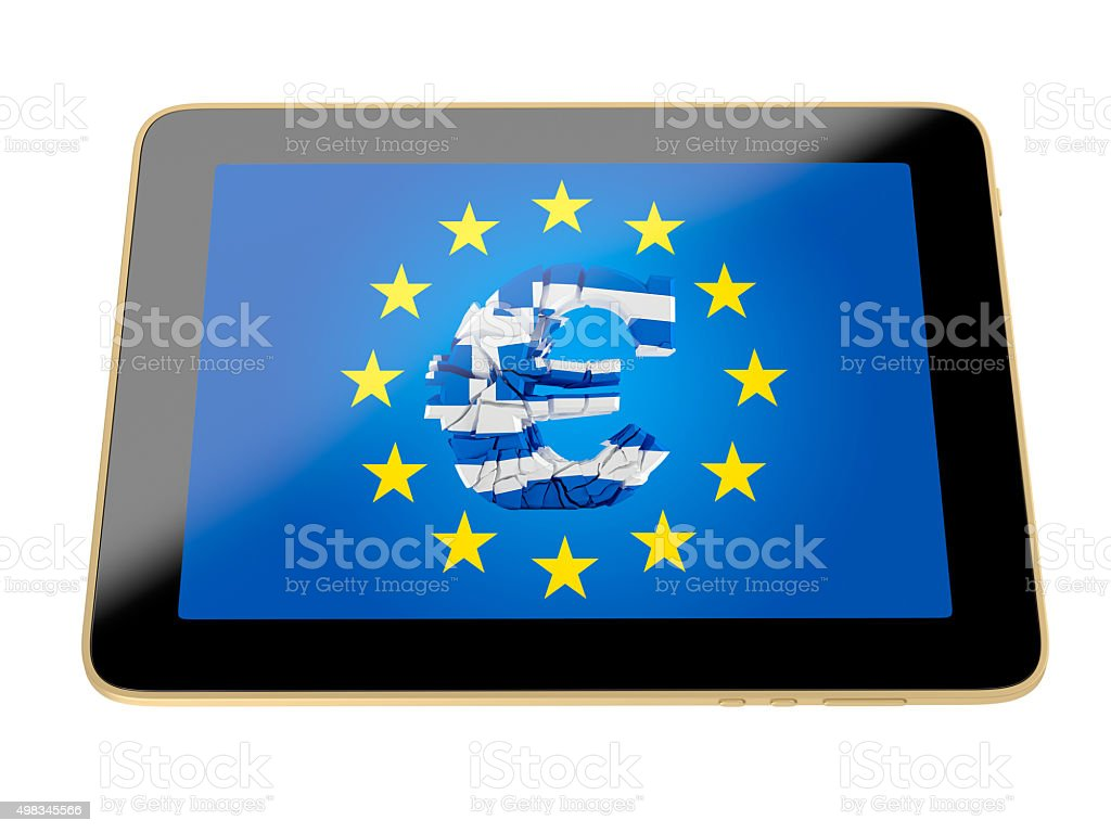 tablet with broken euro sign - german flag colors stock photo