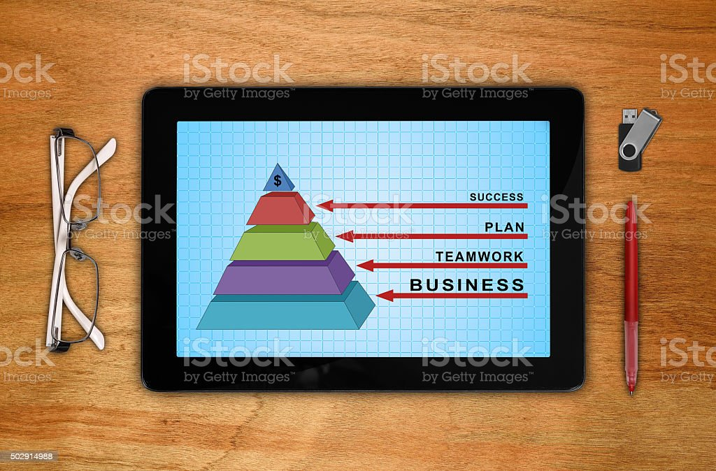 tablet with business pyramid stock photo