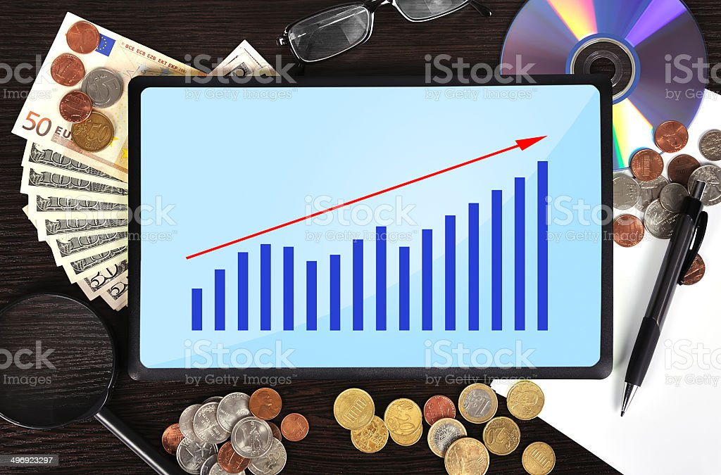 tablet with chart royalty-free stock photo