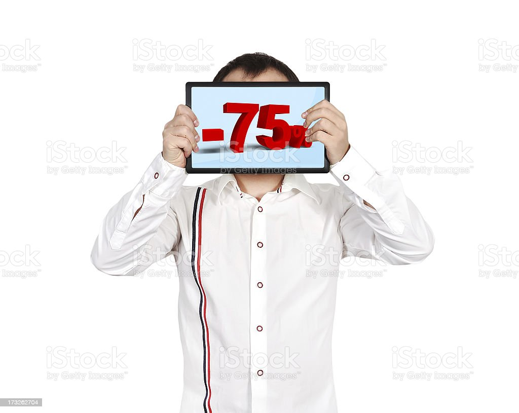 tablet with discount royalty-free stock photo