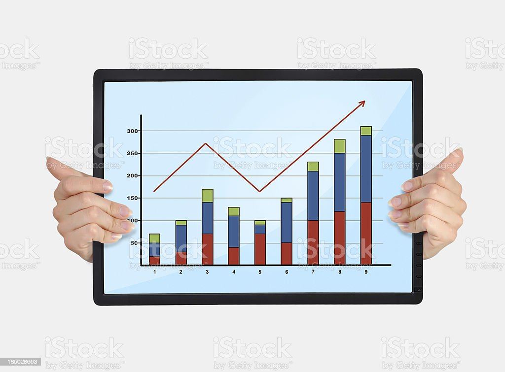 tablet with graph royalty-free stock photo