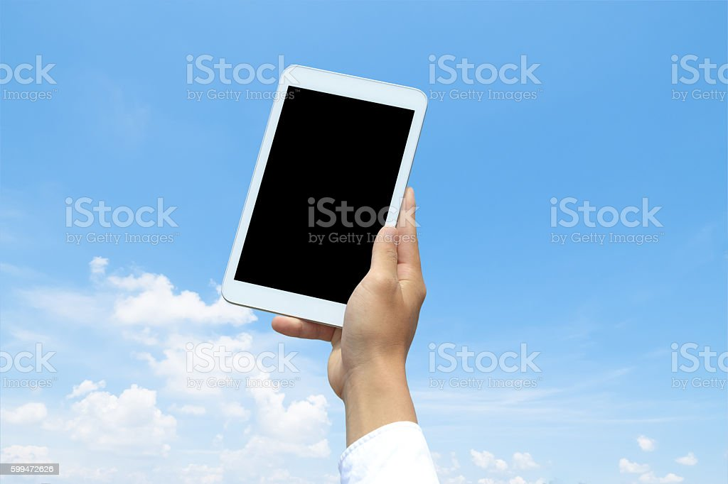 tablet with the blue sky stock photo