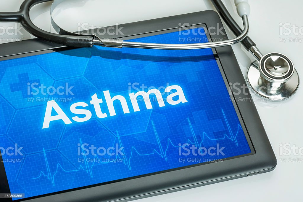 Tablet with the diagnosis asthma on the display stock photo