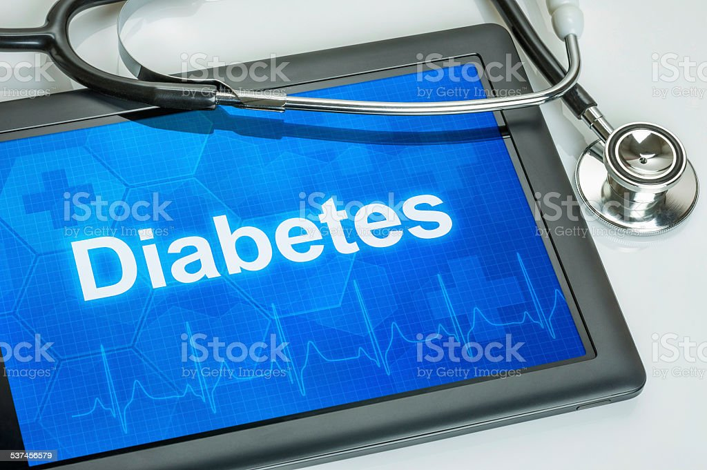 Tablet with the diagnosis diabetes on the display stock photo
