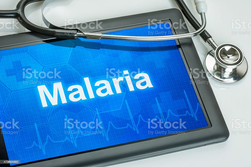 Tablet with the diagnosis Malaria on the display stock photo