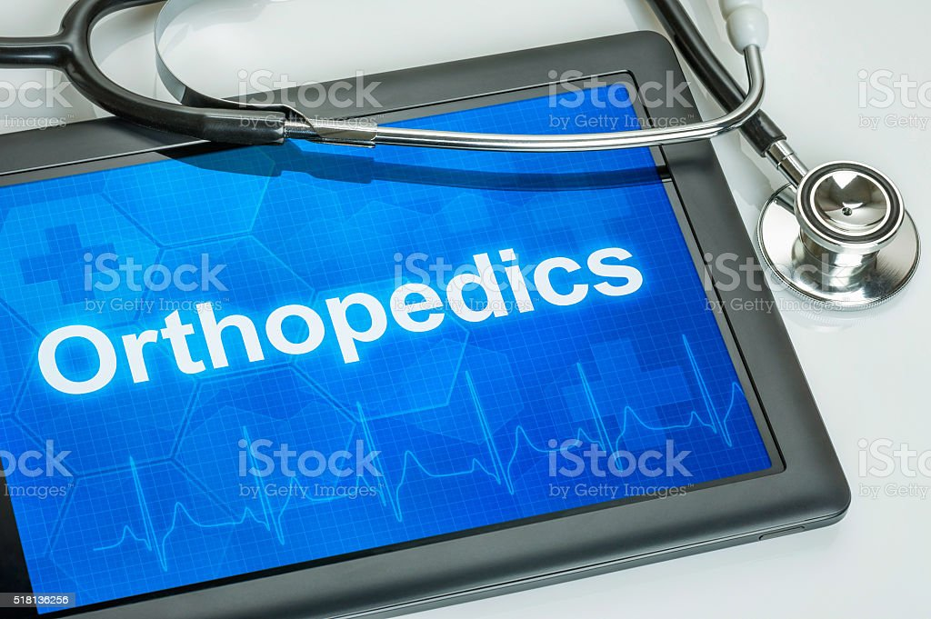 Tablet with the medical specialty Orthopedics on the display stock photo