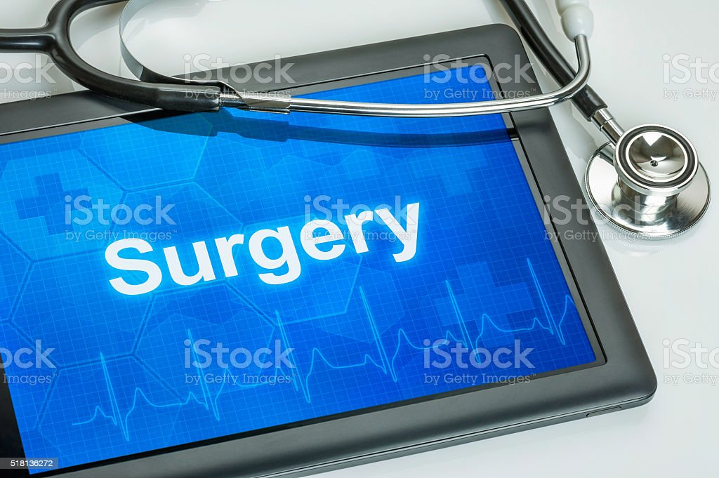 Tablet with the medical specialty Surgery on the display stock photo