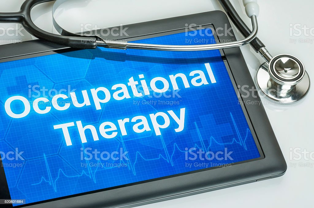 Tablet with the text Occupational Therapy on the display stock photo