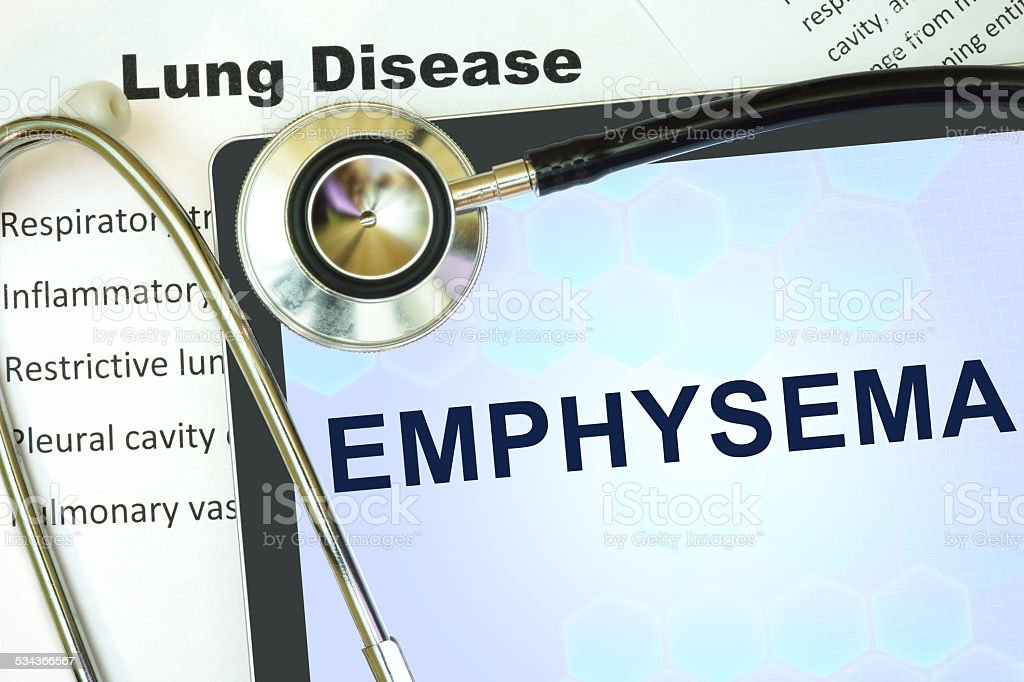 Tablet with word Emphysema and stethoscope. stock photo
