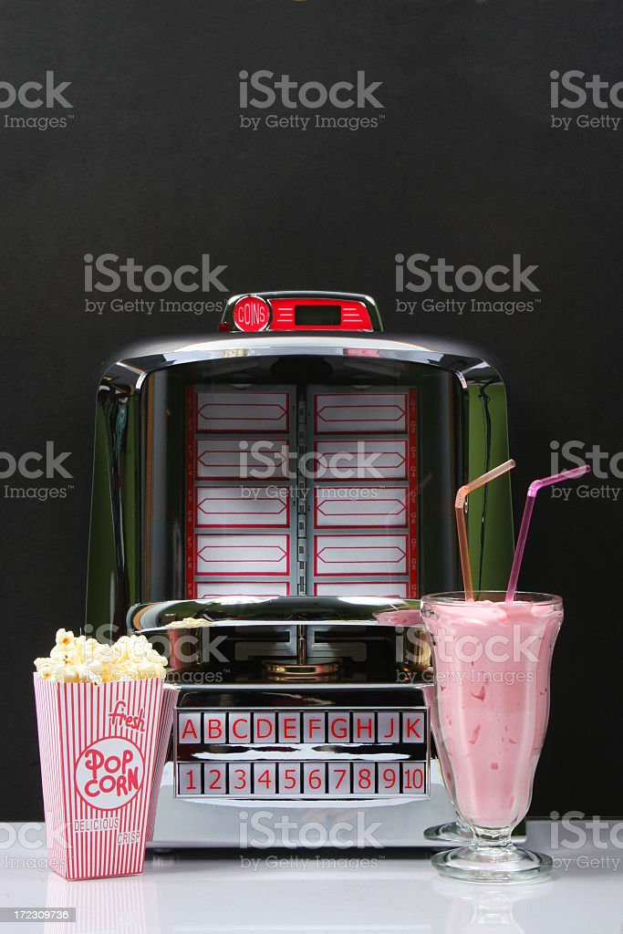 Tabletop Jukebox and foods stock photo