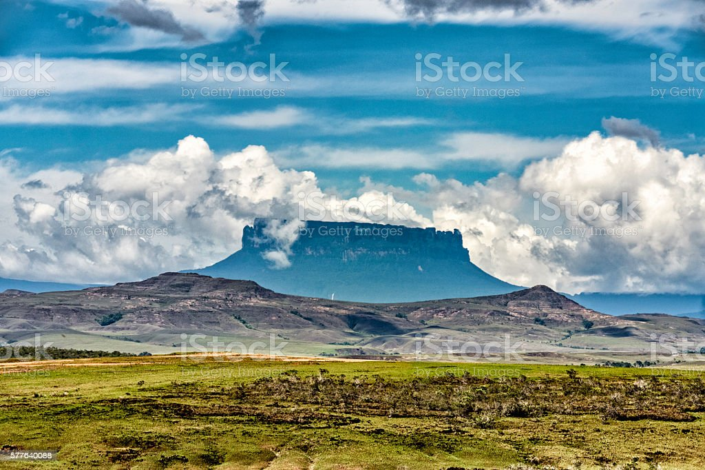 Tabletop mountain Yuruani tepuy. The Lost World stock photo