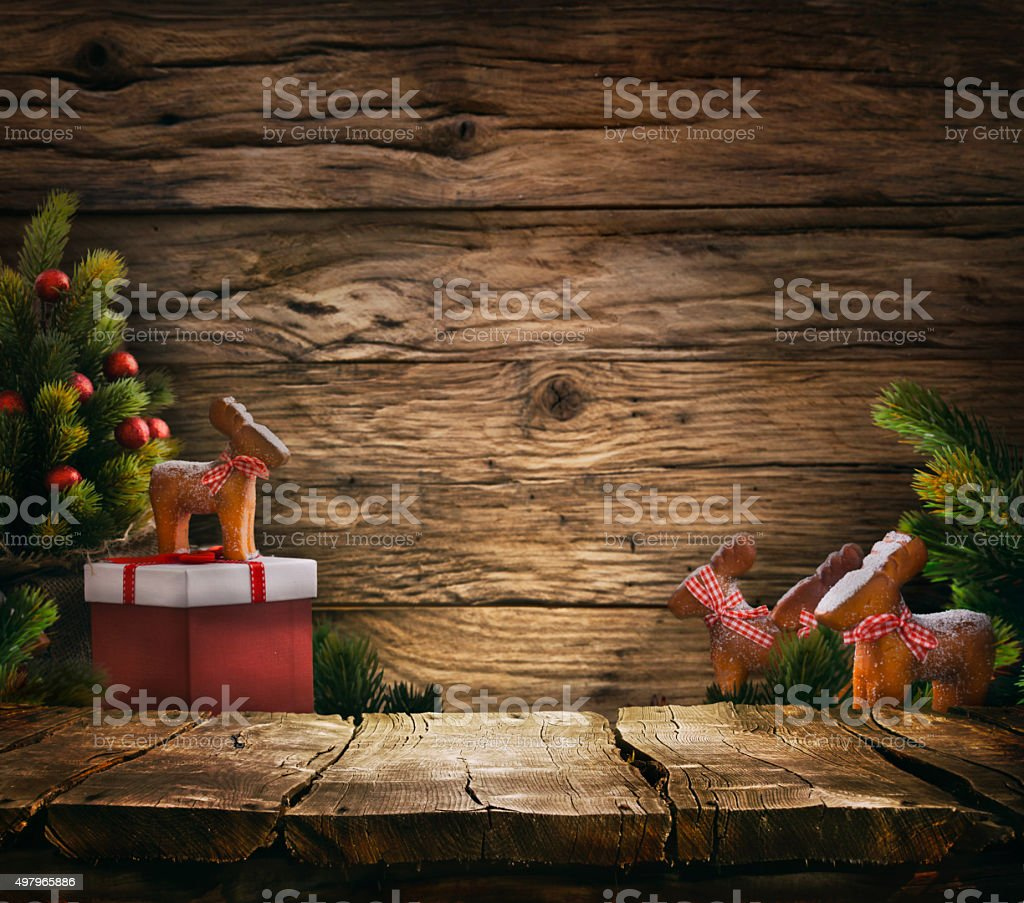 Tabletop with Christmas tree stock photo