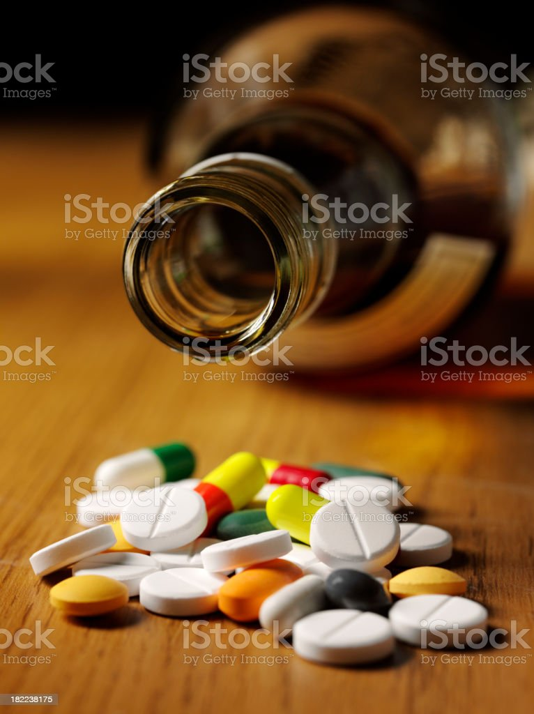 Tablets and Alcohol, Suicide royalty-free stock photo