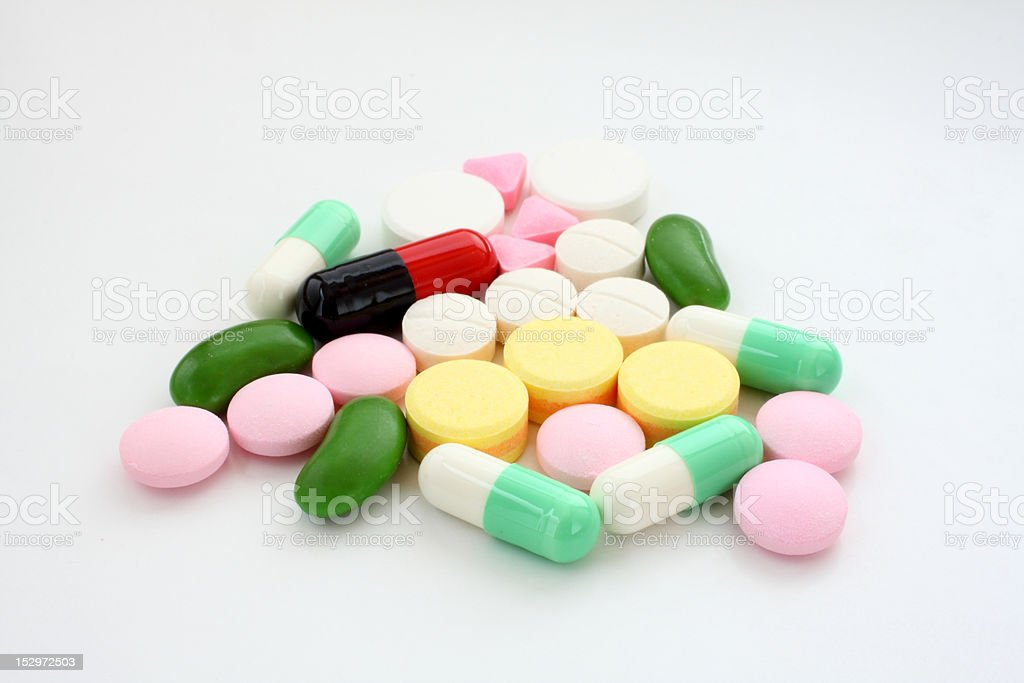 Tablets and capsules royalty-free stock photo