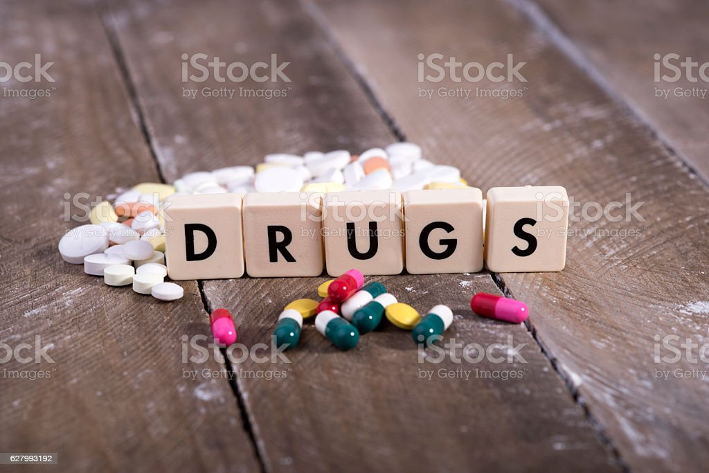 tablets and narcotic addiction stock photo
