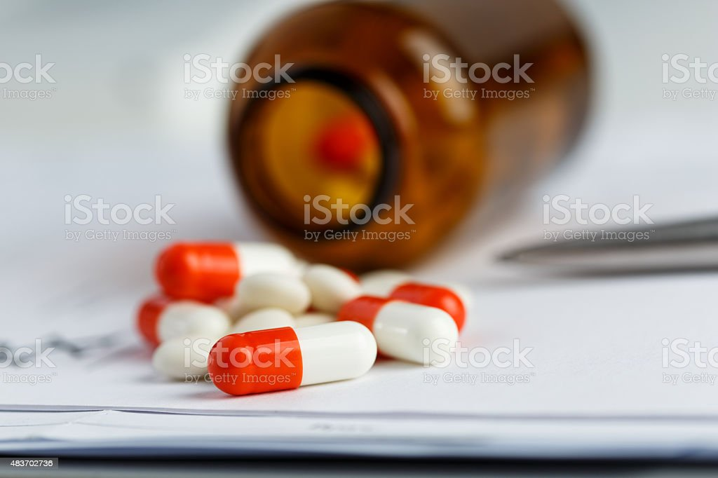 Tablets and recipe. stock photo
