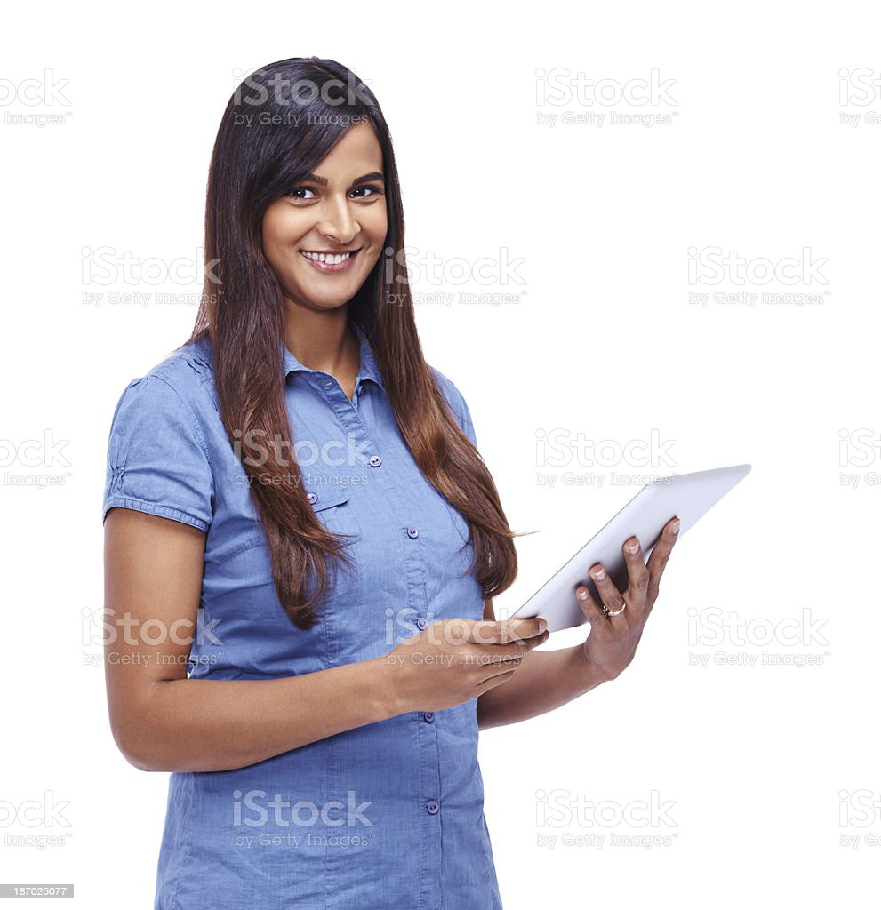 Tablets are great for making lists royalty-free stock photo