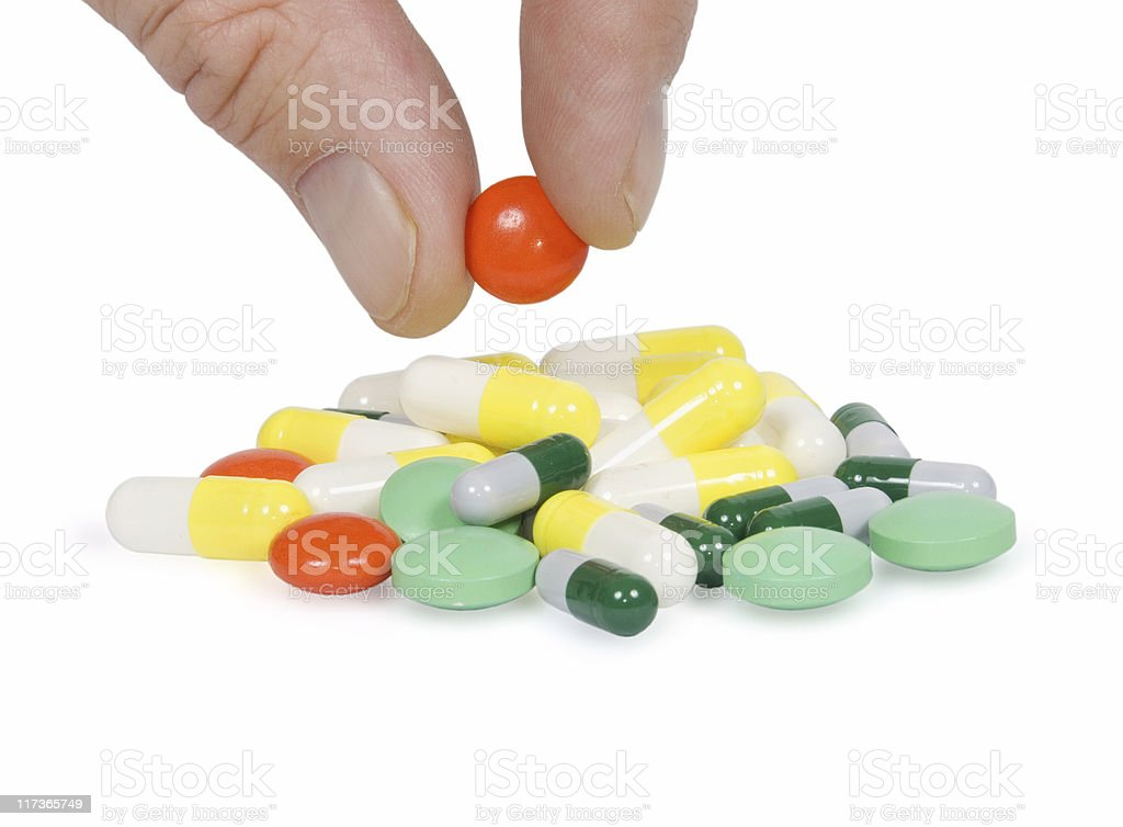 Tablets in a hand stock photo