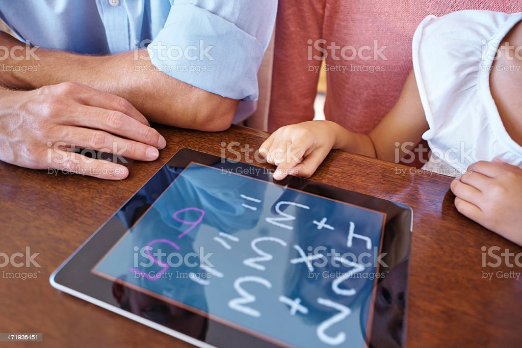 Tablets make numbers fun! stock photo