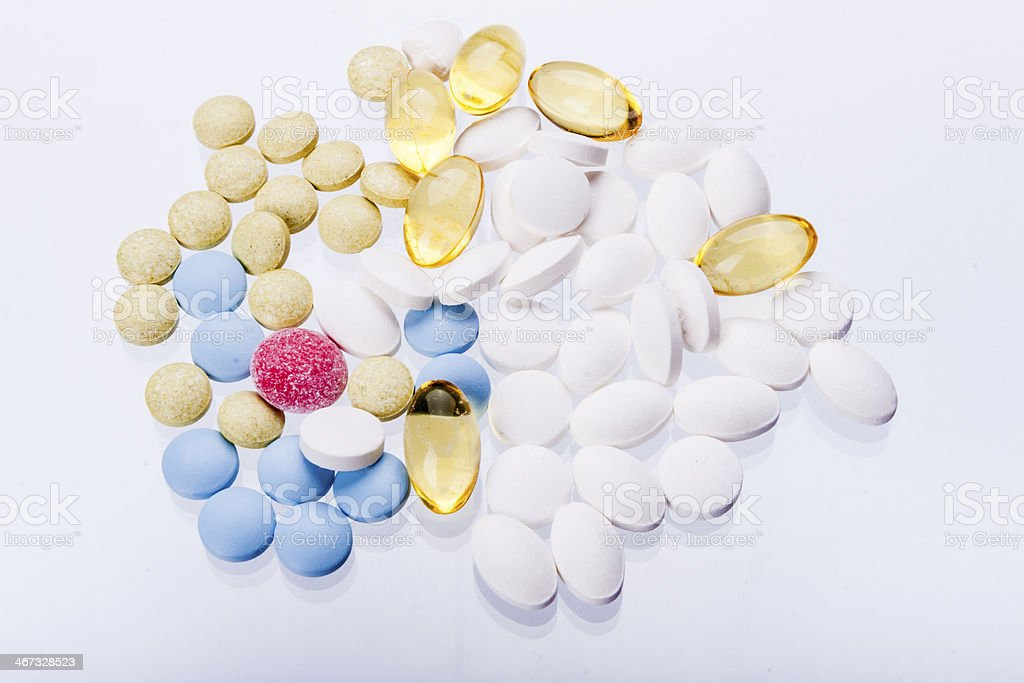 Tablets on white background. stock photo