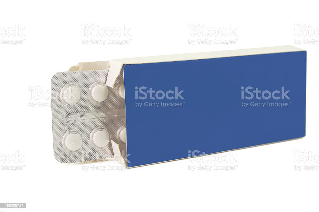 Tablets pills in pack blue royalty-free stock photo