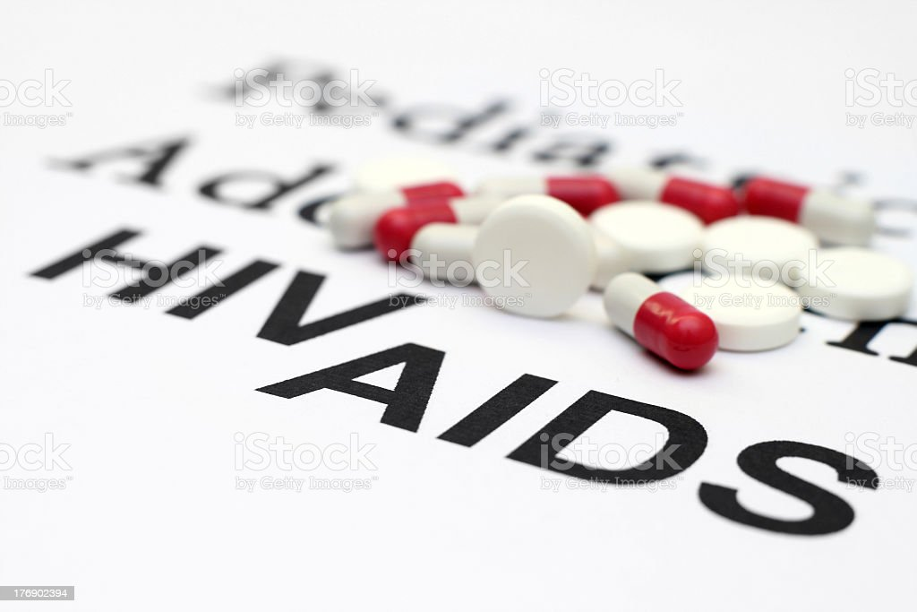 Tablets used for patients with HIV and AIDS stock photo