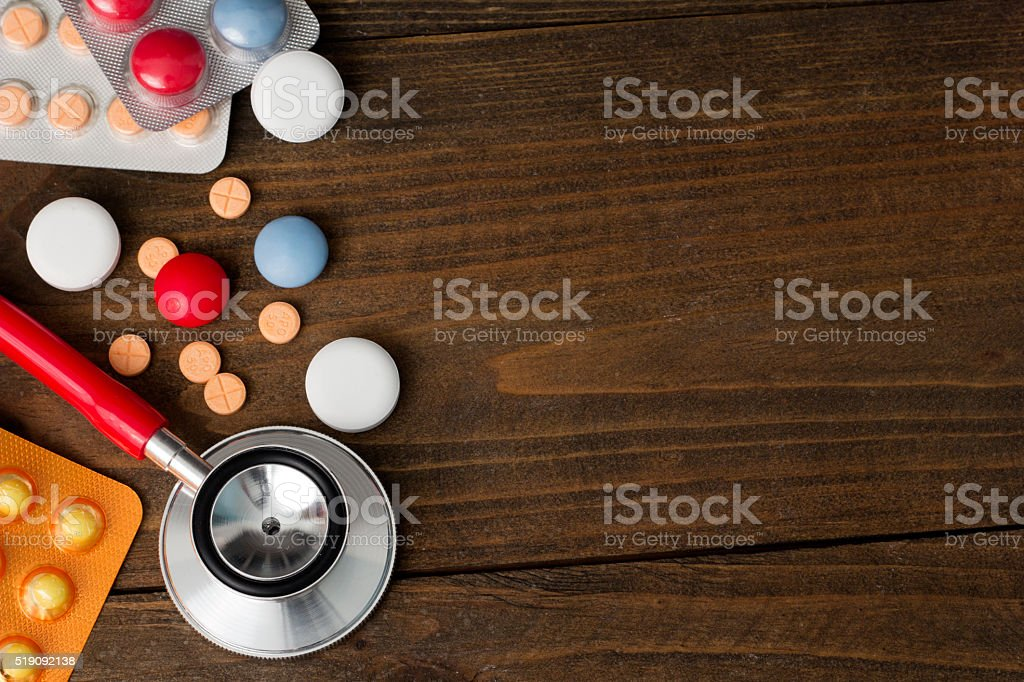 PHONENDOSCOPE, tablets , vitamins  top view stock photo