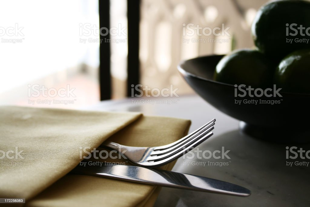 Tableware and a Bowl of Fruit royalty-free stock photo