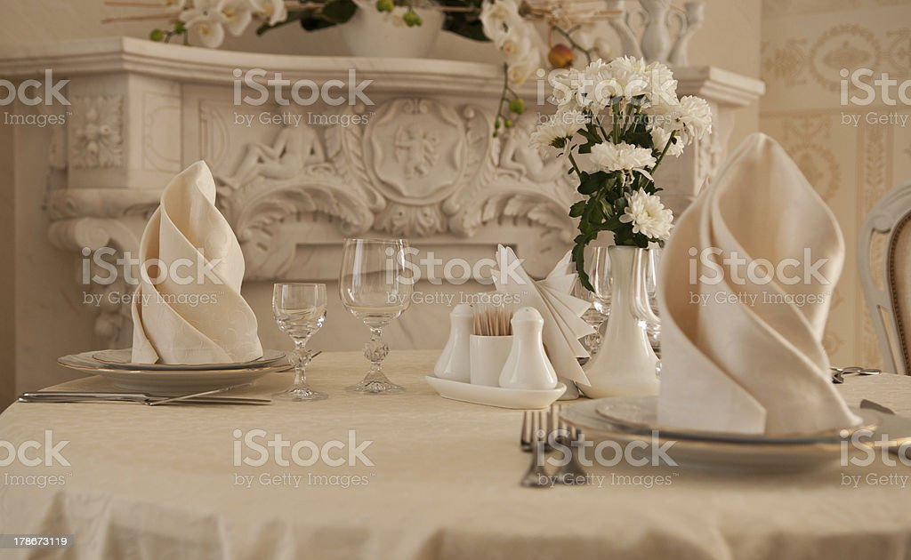 tableware and glasses at restaurant royalty-free stock photo