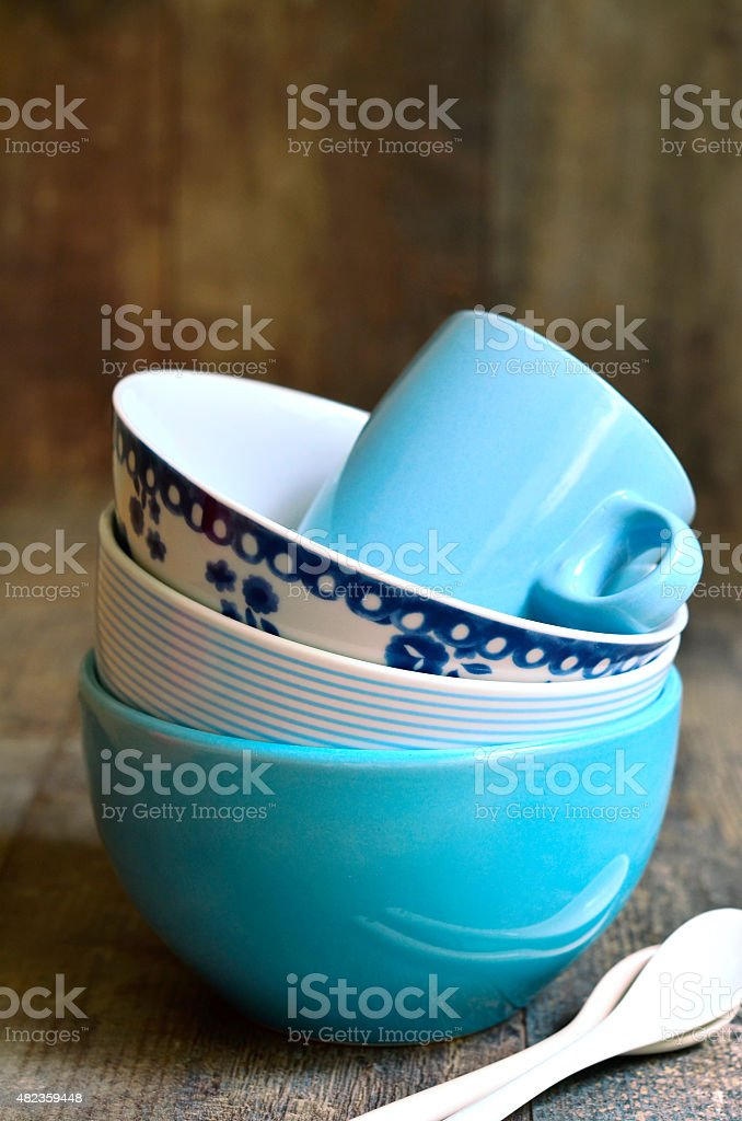 Tableware set in blue colours. stock photo