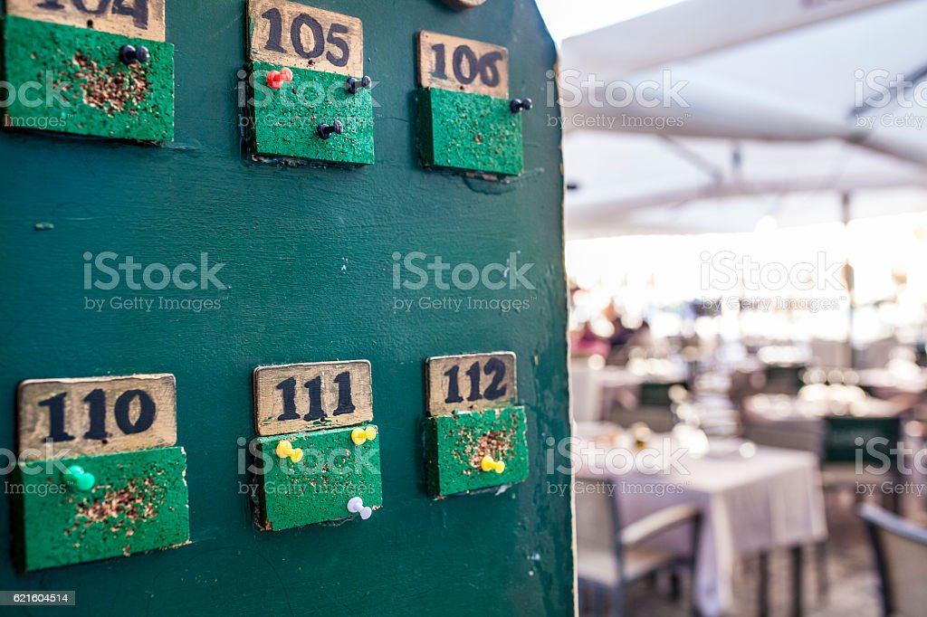 Tabloid for tables orders at terrace restaurant stock photo