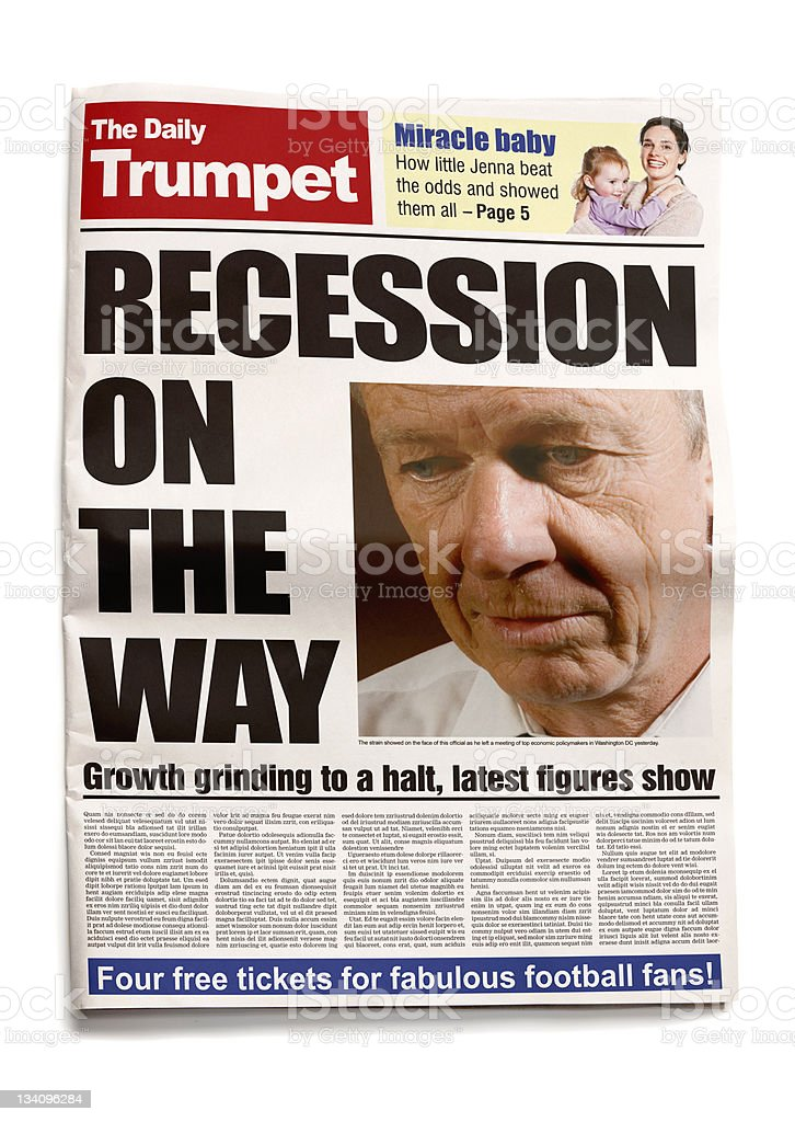 Tabloid recession warning royalty-free stock photo