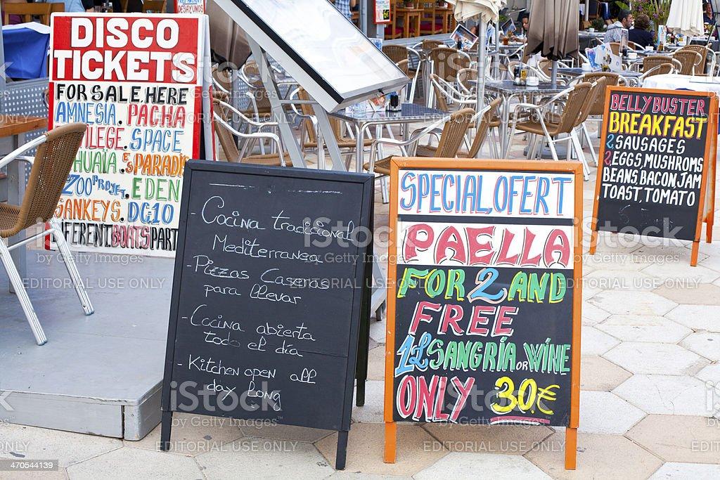tabloid with menu in ibiza stock photo