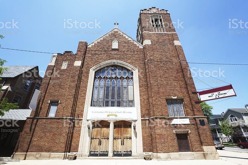 'Tabor Evangelical Lutheran Church in Albany Park, Chicago' stock photo