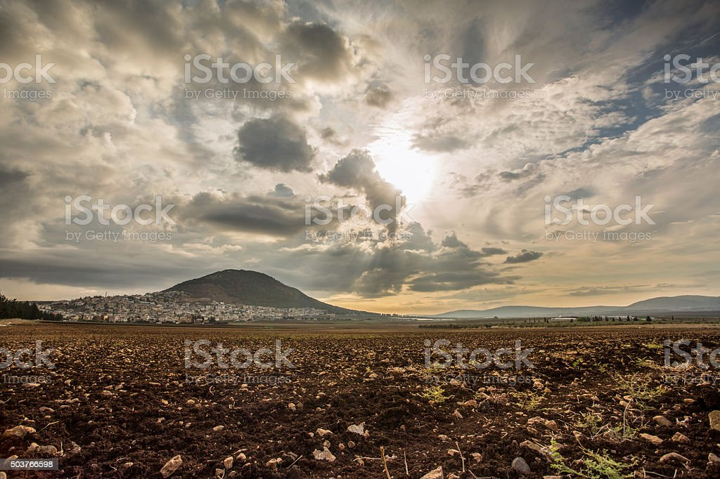Tabor Mountain and Jezreel Valley in Galilee, Israel stock photo