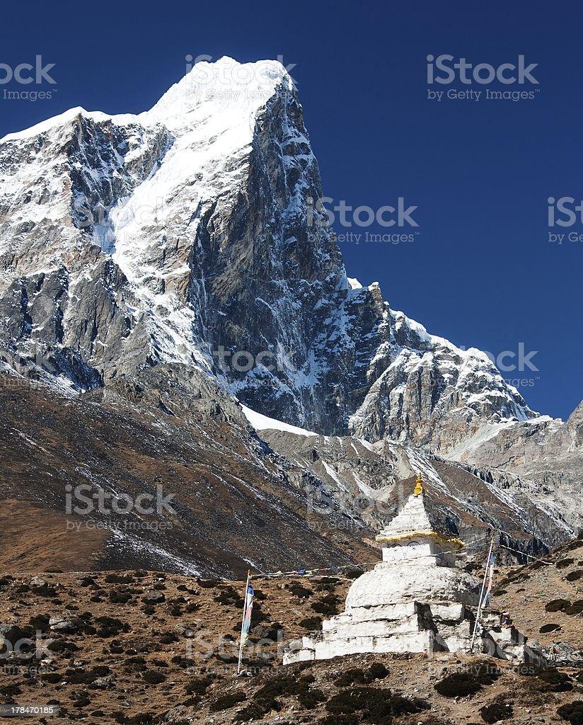 Tabuche Peak and stupa royalty-free stock photo