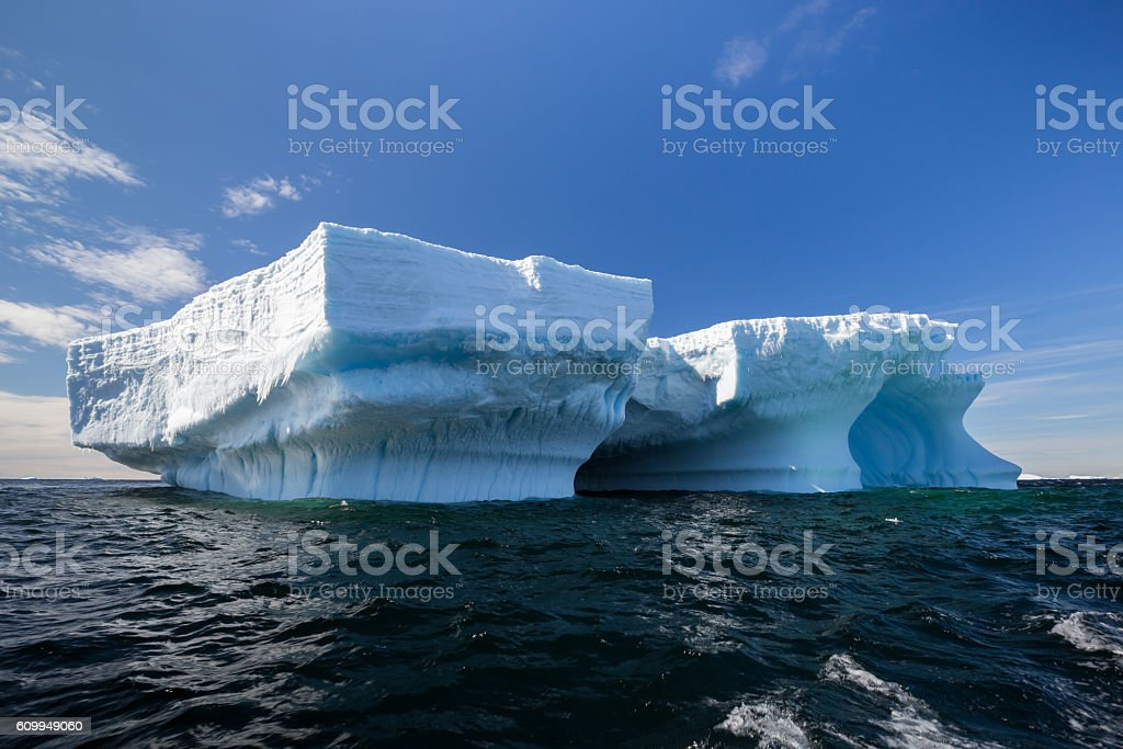 Tabular Iceberg off coast of Antarctic Peninsula stock photo