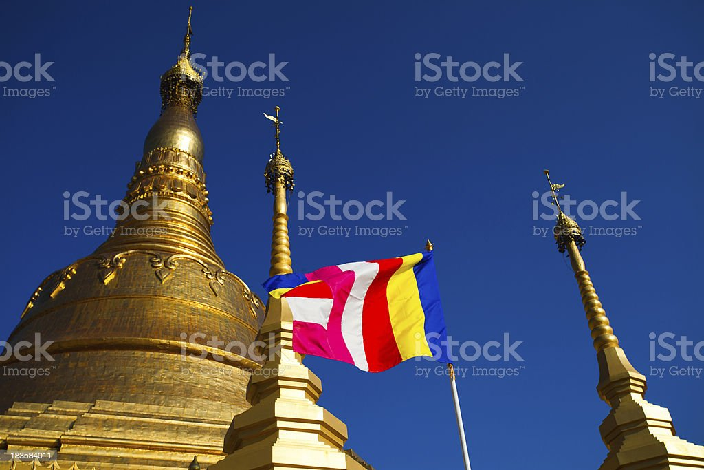 Tachileik Shwedagon Temple in Burma royalty-free stock photo