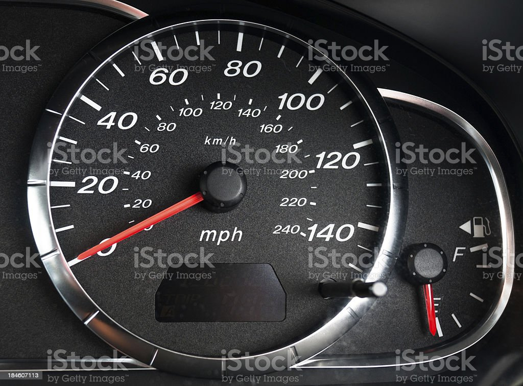 Tachometer And Fuel Gauge In A Car stock photo