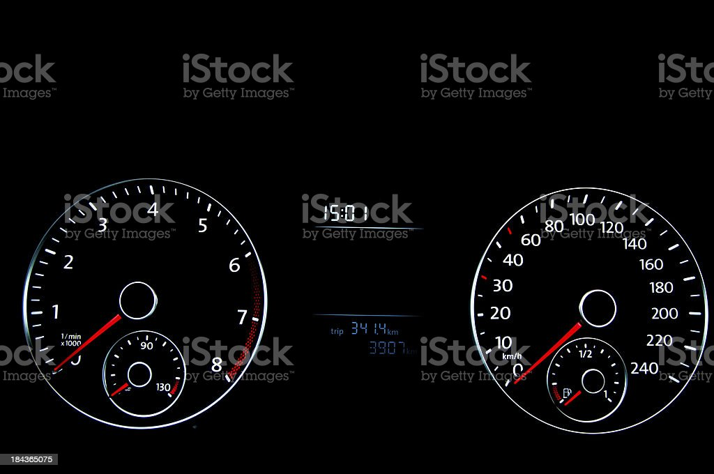 tachometer and rev counter stock photo