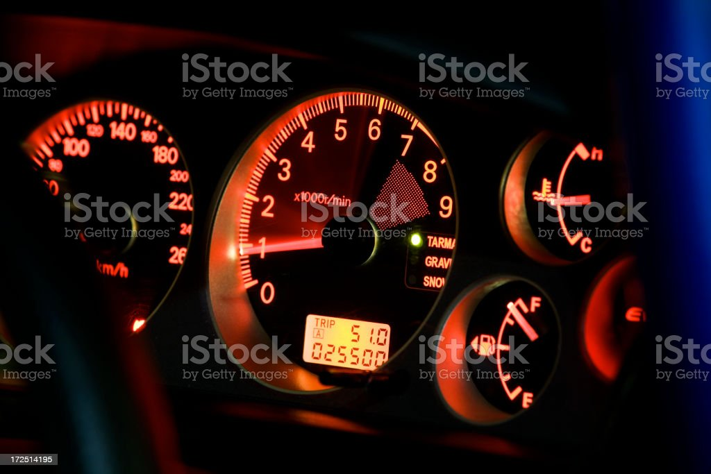 A tachometer lit up in a vehicle that is turned on stock photo