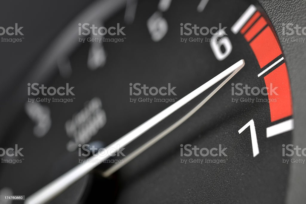 Tachometer or rev counter red lining stock photo