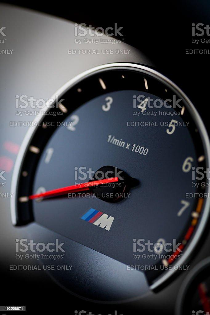 BMW M3 tachometer stock photo