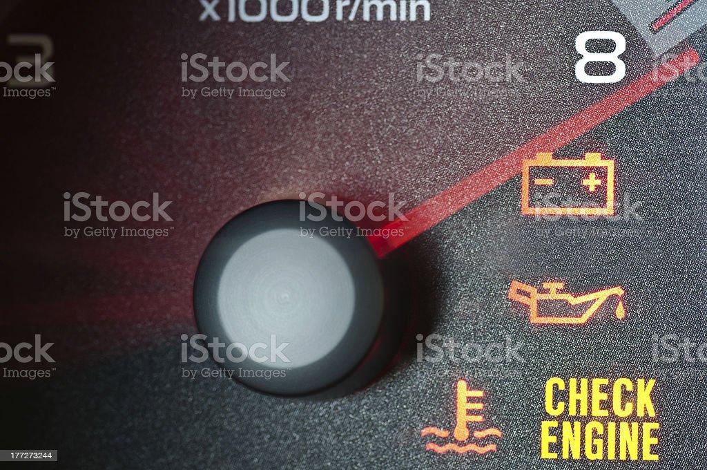 Tachometer redline with warning indicators stock photo